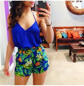 romper blue one piece outfit summer summer outfits shorts tropical green spaghetti strap