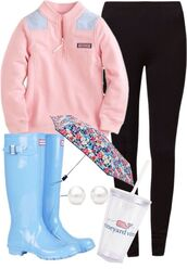 jacket,vineyard vines,umbrella,hunter boots,leggings,cup,pearl earrings,pink sweater