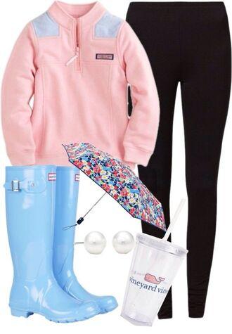 jacket vineyard vines umbrella hunter boots leggings cup pearl earrings pink sweater