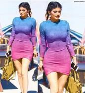 dress,ombre dress,kylie jenner,bodycon dress,purple