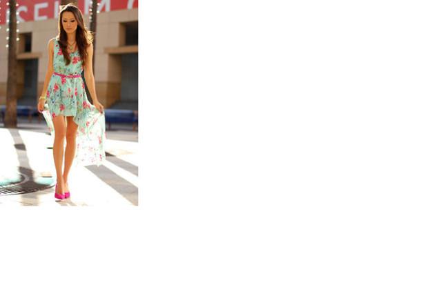Dress, floral, asymetric dress, flowers