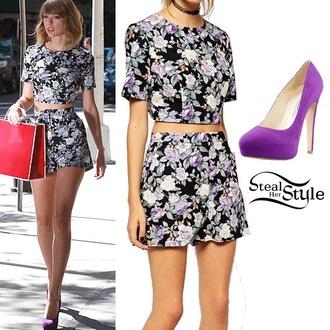 bag blouse purple shoes taylor swift skirt shorts shoes