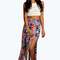 Shelley boho print side slit maxi skirt