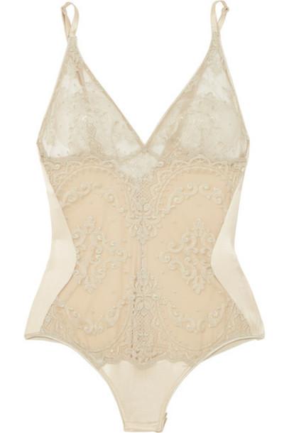 bodysuit embroidered metallic gold silk satin underwear