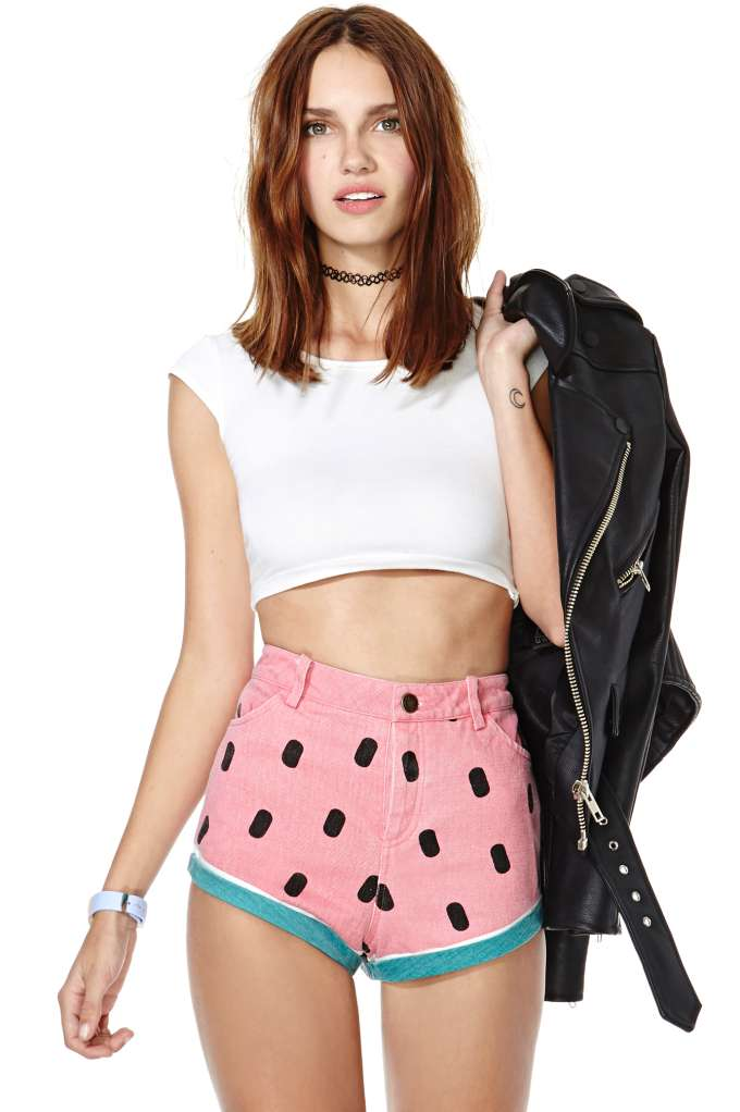 Lazy Oaf Watermelon Denim Shorts at Nasty Gal