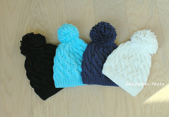 Women's pom pom beanie,nitted beanie, beanie,cable knit beanie,knitted hat,navy,mint, black, hat,slouchy beanie,women's winter hat.