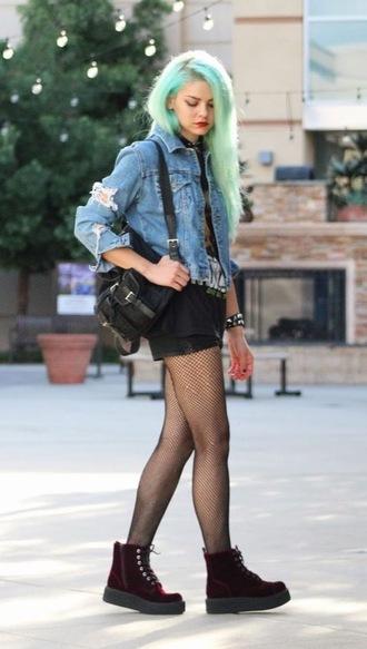 shoes denim jacket black bag black shorts burgundy combat boots blogger