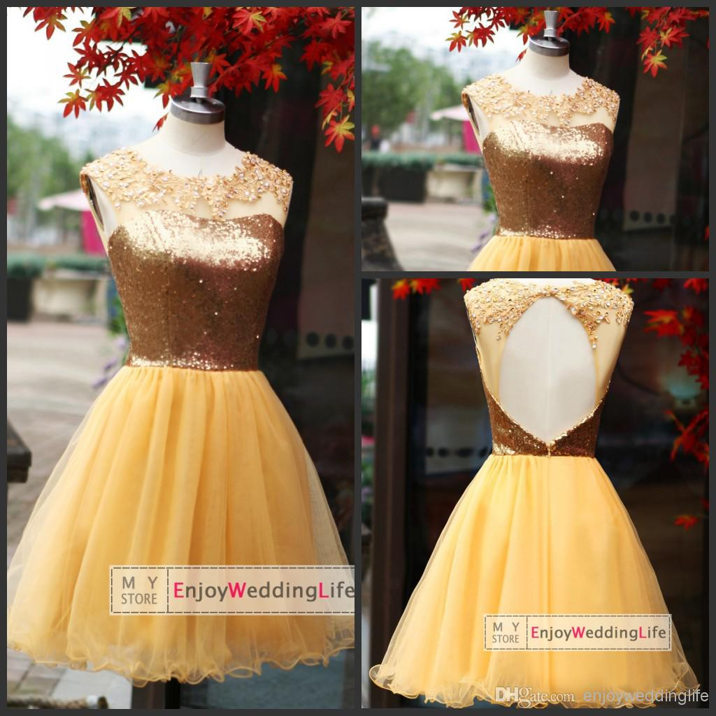 Discount 2014 New Sexy Gold Scoop Sequins Short Homecoming Dresses Applique Beaded Hey Hole Party Cocktail Gowns Su02 Online with $100.53/Piece | DHgate