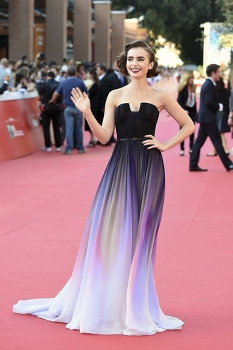dress lily collins purple dress red carpet dress ombre black dress black maxi dress black and white dress ombre dress awards ceremony elie saab two-piece prom dress gown strapless dress black purple white long prom dress abiballkleider abiball elegantes abiballkleid rainbow long dress red carpet