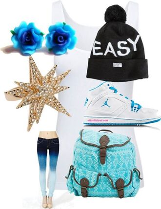 pants ombré easy light blue blue cute tank top polyvore sets polyvore air jordan ombre earrings floral beanie ring backpack shoes jewels