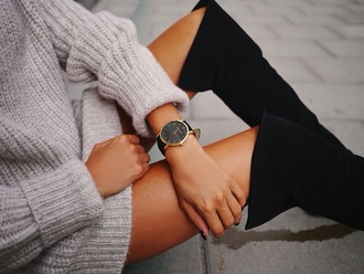 dress oversized sweater knee high boots shoes sweater grey fluffy cool 90s style black watch