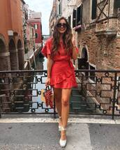 bag,straw bag,shoes,dress,red dress,short dress,sandals,sunglasses