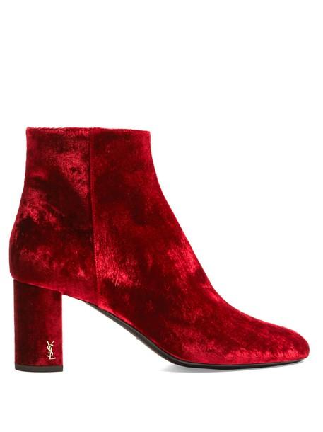 Saint Laurent velvet ankle boots ankle boots velvet red shoes