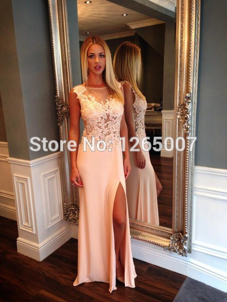 Aliexpress.com : Buy Elegant Boat Neck Cap Sleeves Natural Waist Lace See Through Top Dress New Fashion Formal Pink Maxi Long Special Occasion Dress from Reliable dress cocktail dress suppliers on SFBridal