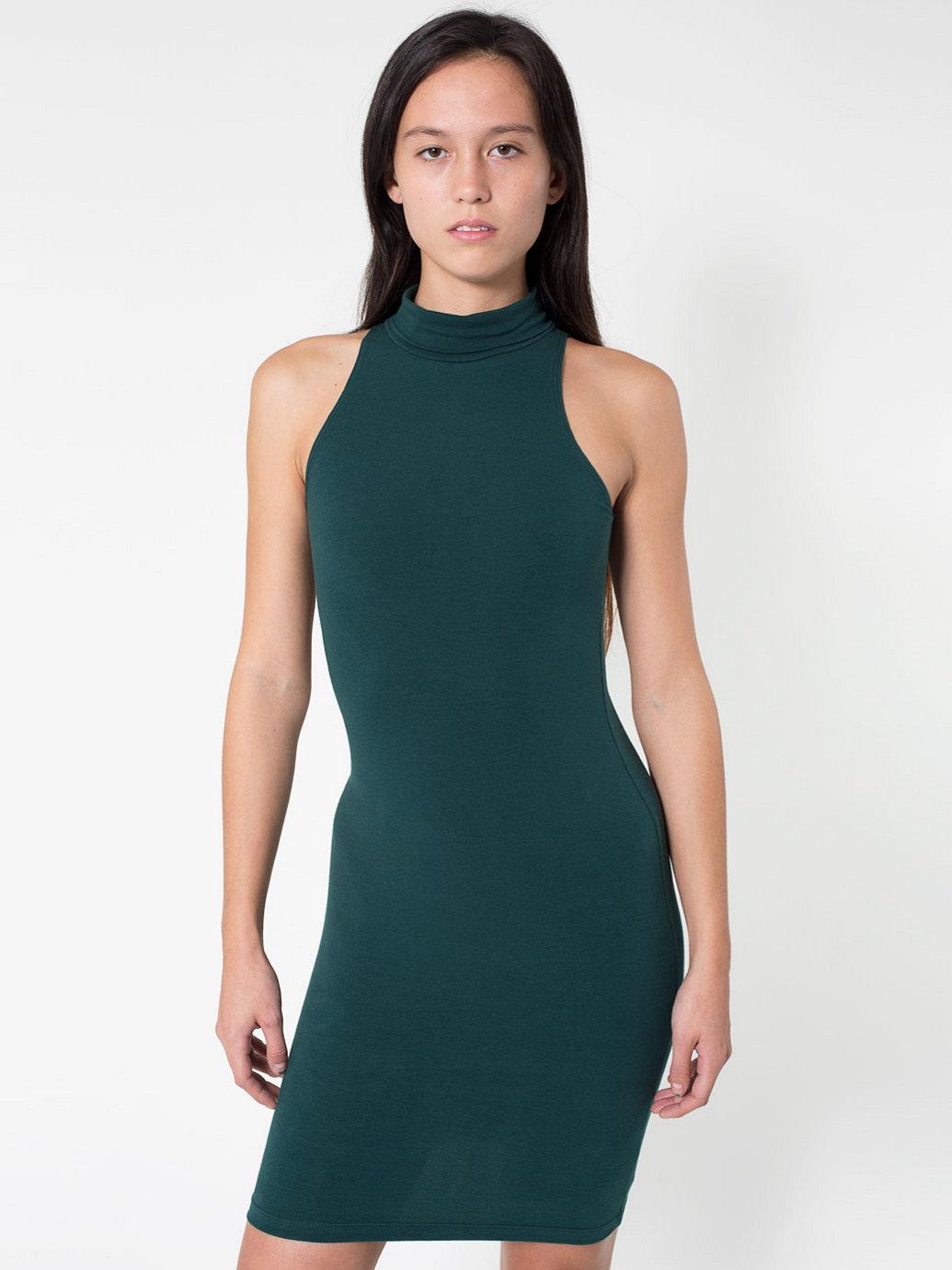 Cotton Spandex Jersey Sleeveless Turtleneck Dress | American Apparel