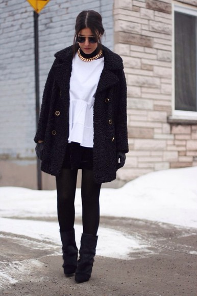 coat black coat pants jacket cute pretty button necklace shirt