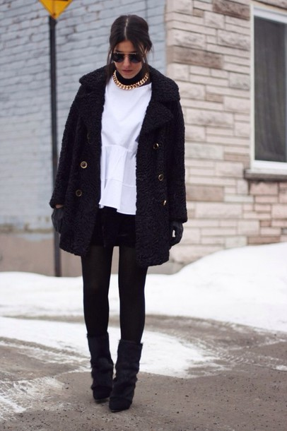 coat black coat jacket cute pretty button necklace shirt pants