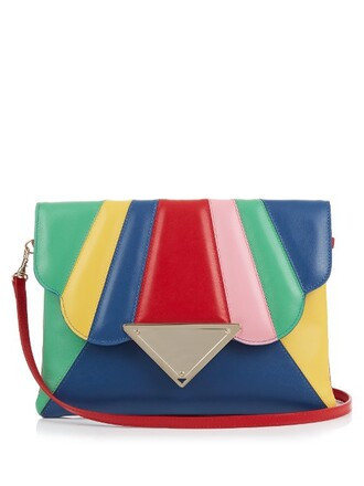 leather clutch rainbow clutch leather bag