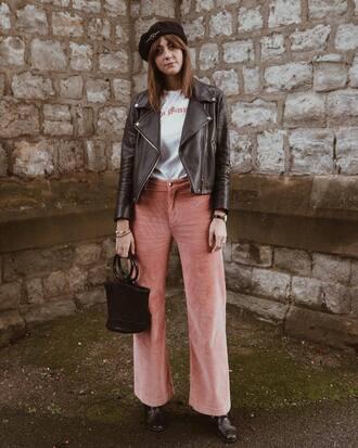 pants pink pants boot brown boots bag brown bag jacket brown jacket t-shirt white t-shirt shoes top