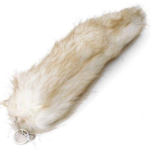 Light brown beige tan faux fox tail keychain ring purse tassle belt clip 12