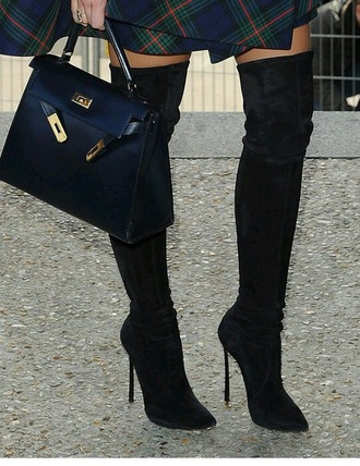 shoes overknee boots black overknee boots