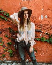 take aim,blogger,top,jeans,hat,shoes