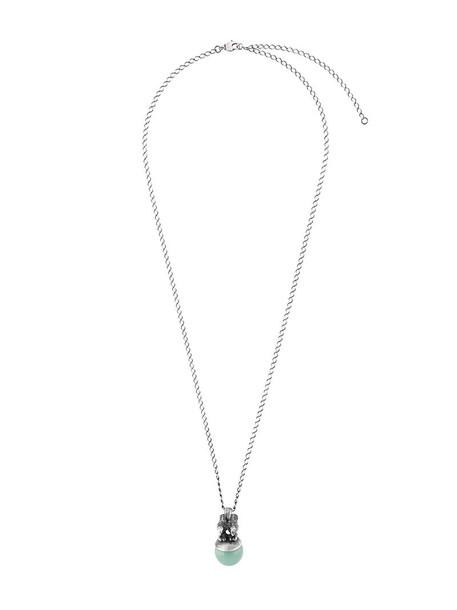 women necklace pendant silver grey jewels