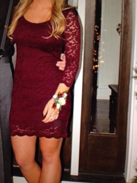 dress red dress burgundy dress lace dress long sleeve dress long sleeves style homecoming dress holiday dress preppy dress