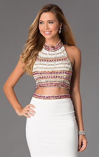 dress two-piece embellished white pink