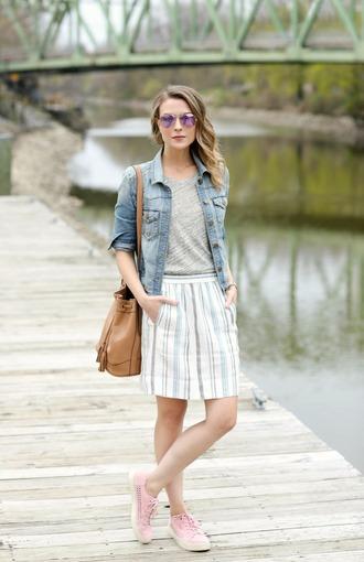 pennypincherfashion blogger jacket tank top skirt shoes bag denim jacket shoulder bag bucket bag sneakers spring outfits