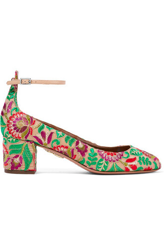 embroidered pumps green shoes