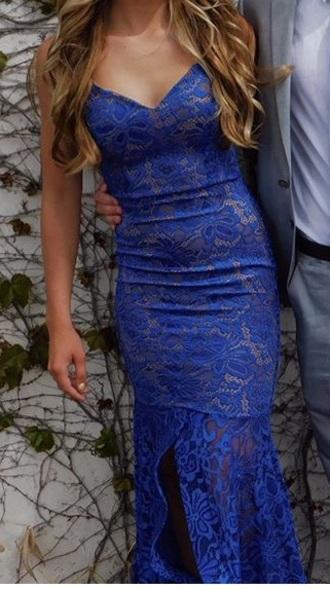 dress blue lace dress v neck dress