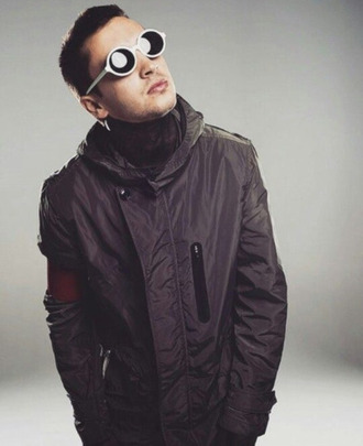 jacket tyler joseph celebrity singer black jacket mens jacket turtleneck sunglasses white sunglasses