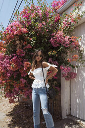 song of style,blogger,top,jeans,white off shoulder top,lace top,white lace top,peplum top,peplum,off the shoulder,off the shoulder top,black bag,shoulder bag,blue jeans,spring outfits,ripped jeans,sunglasses
