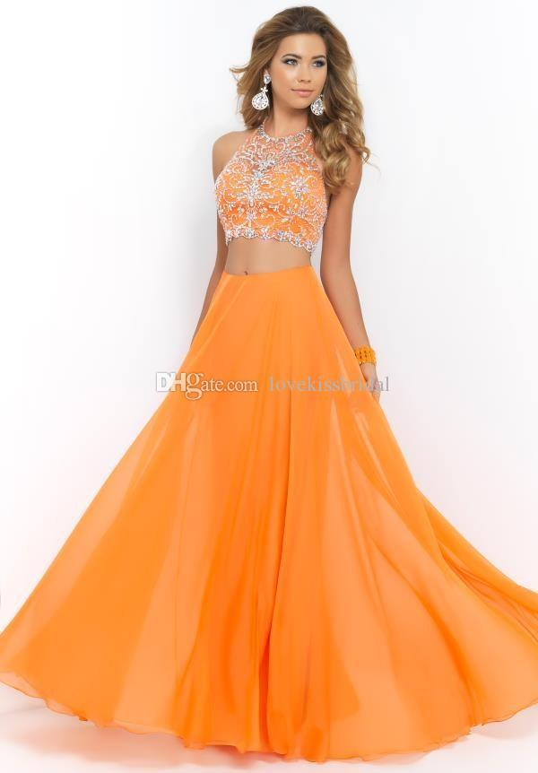 cc5a891077c Cheap 2015 Prom Dresses - Discount Orange Chiffon Two Piece Prom Dresses  Sexy Halter Online with ...