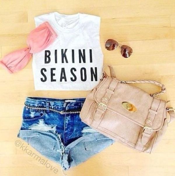 shirt summer outfits shorts swimwear bag