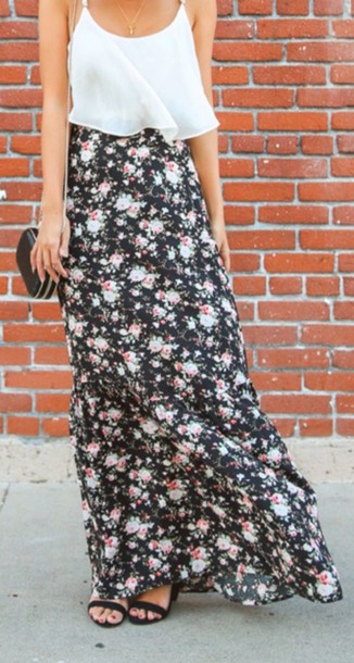 skirt floral dress floral skirt floral maxi dress maxi skirt maxi hippie cute skirt trendy