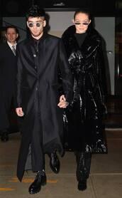coat,all black everything,zayn malik,gigi hadid,model off-duty,menswear,mens pants