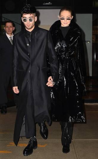coat all black everything zayn malik gigi hadid model off-duty menswear mens pants