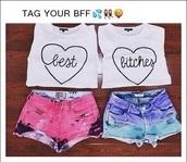 shirt,t-shirt,white,heart,friends,bff,love,cute,best bitches