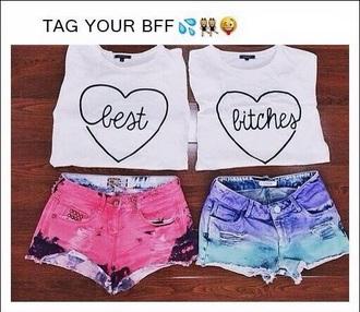 shirt t-shirt white heart friends bff love cute best bitches