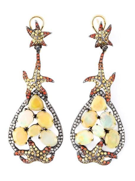 opal earrings yellow orange jewels