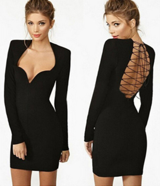 dress chic v neck backless long sleeves slim short dress
