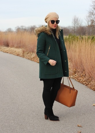 stylin in st. louis blogger coat sweater shoes bag hat jeans beret fall outfits winter outfits green coat boots