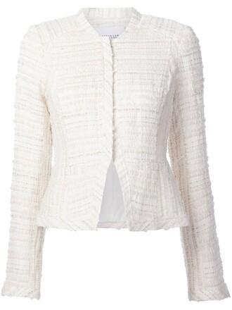 jacket cropped women white cotton wool
