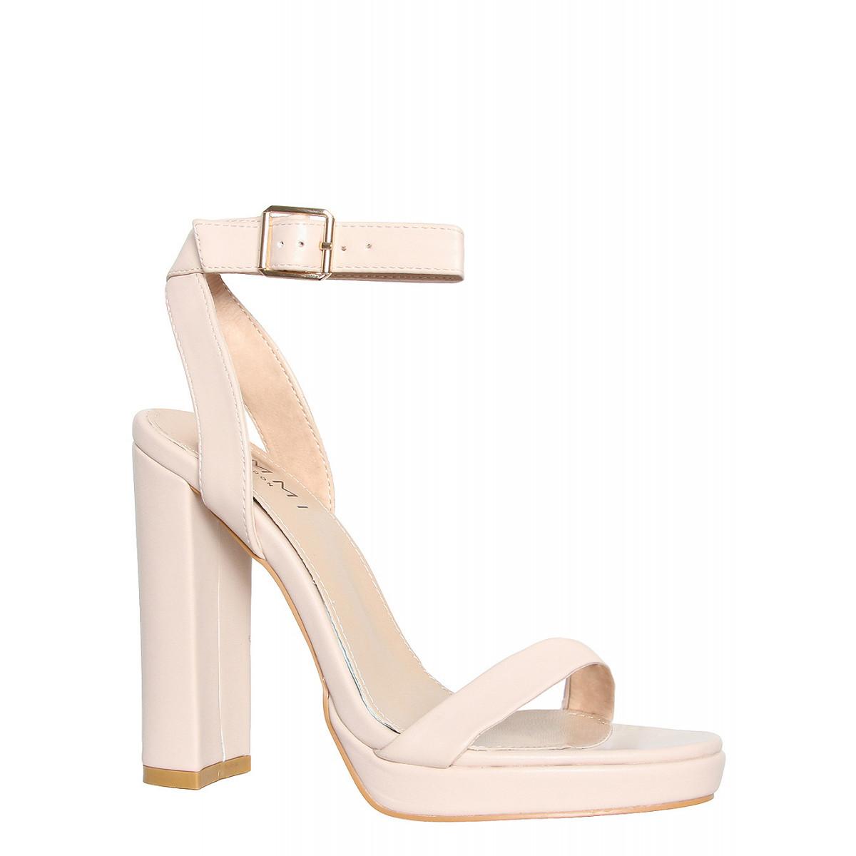 Adora Nude Platform Block Heels : Simmi