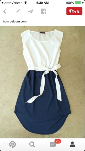 navy ribbon high low casual sundress
