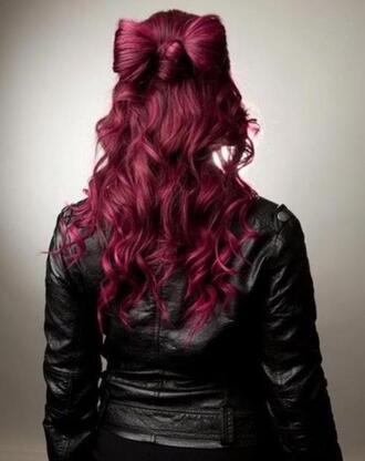 jacket purple hair big hair bow leather jacket