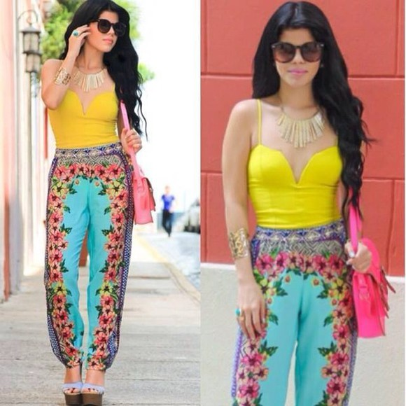fashion tube top pants blue pants, sunglasses tube top, pink top, pink tube top