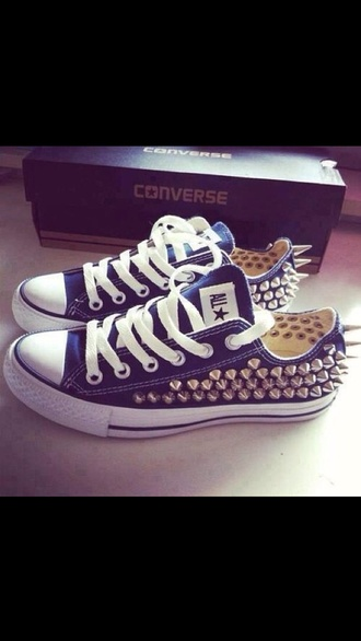 shoes blue chuck taylor all stars converse studs